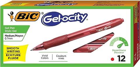 BIC Gel-ocity Retractable Gel Pen, Medium Point (0.7 mm), Red, 12-Count