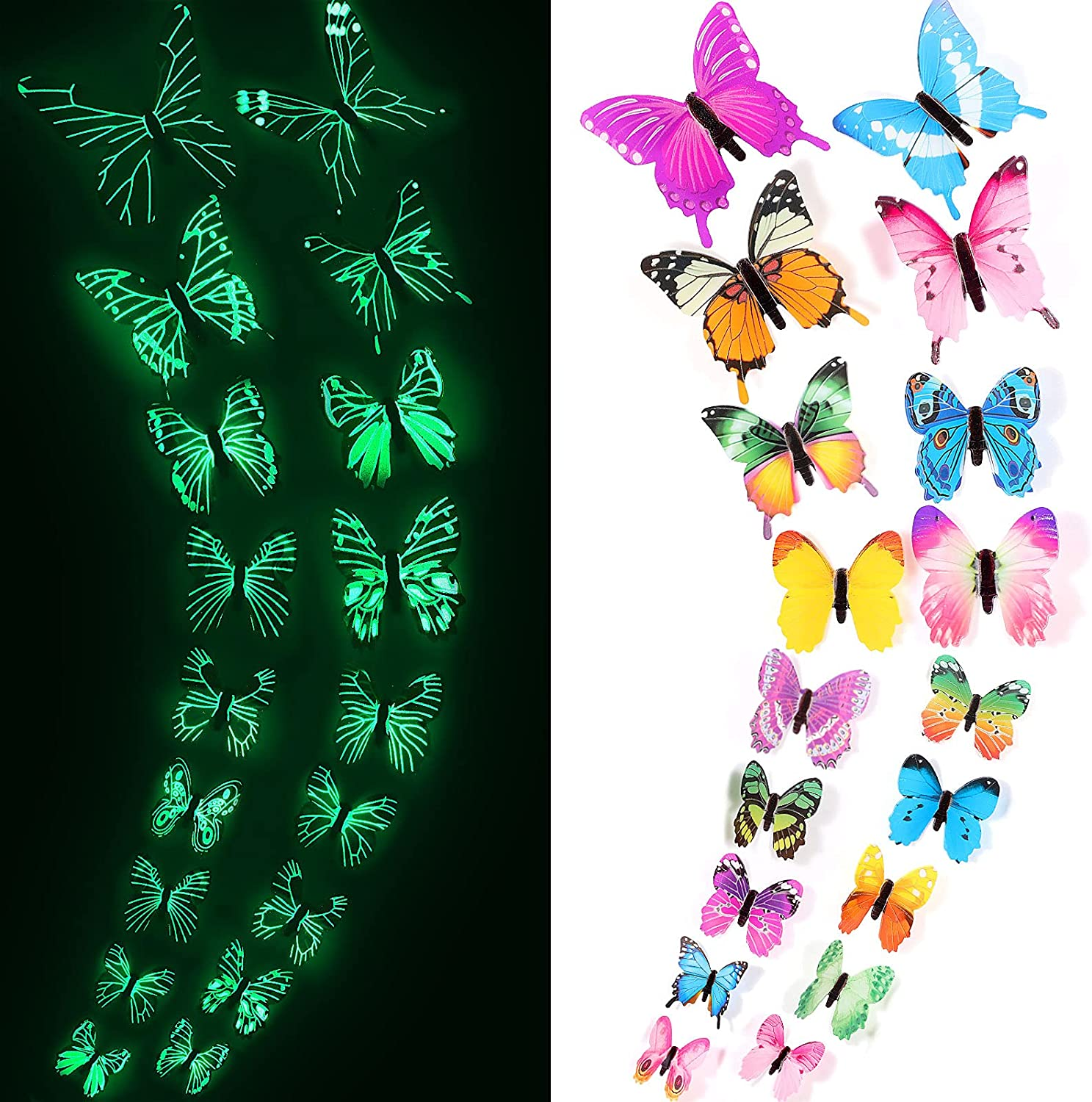 120 Pieces Butterfly Decals Glow Butterfly Stickers 3D Butterfly Sticker for Ceiling or Wall Decor Luminous 3D Butterfly Wall Sticker for Kid Bedroom Nursery Living Room Luminous Butterfly Home Garden
