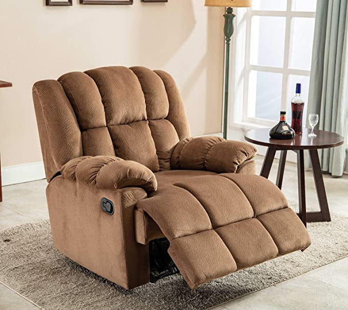 Groovy Thick Padded Recliner Chair Fabric Living Room Chair Single Seat Lounge Sofa Reclining Natural Sand Cjindustries Chair Design For Home Cjindustriesco