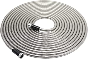 Eseegoo 50FT 304 Stainless Steel Garden Hose, Metal Water Hoses, Yard Hose - Lightweight, Kink & Tangle Free, Strong Heavy Duty, High Pressure, Rust Proof, Durable and Easy to Use