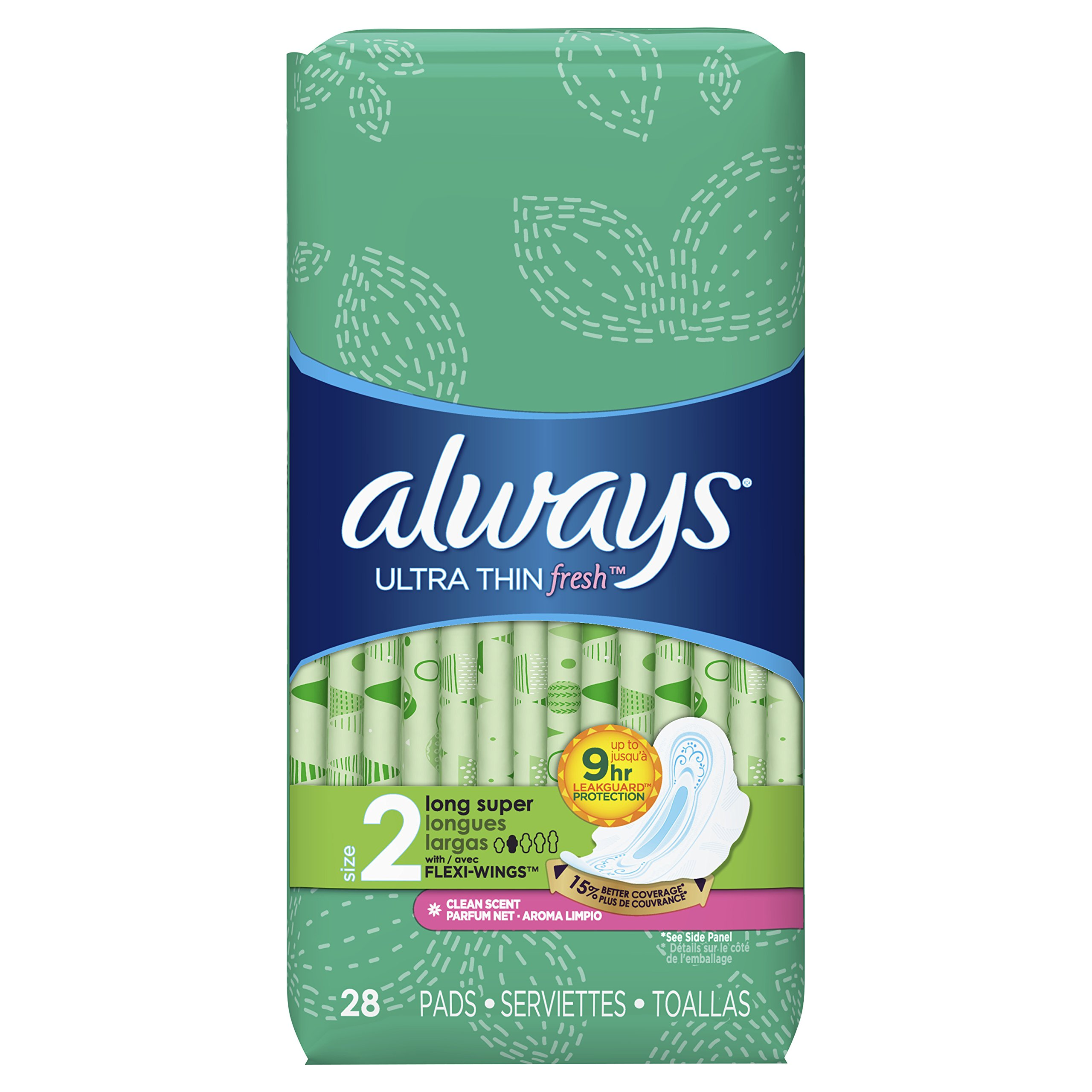 Always Ultra Thin Feminine Pads for Women, Size 2, Long, Super Absorbency, with Wings, Fresh Scented, 28 Count - Pack of 6 (168 Count Total)