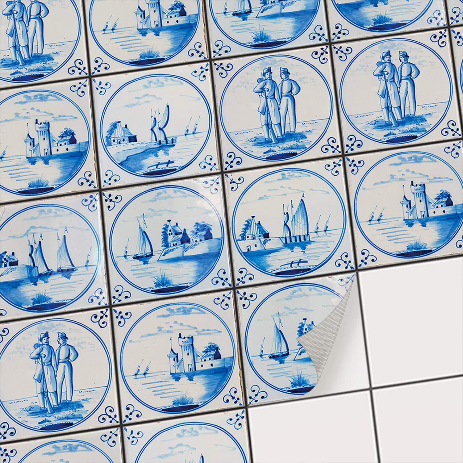 Removable Self Adhesive Mosaic Tile Stickers - Deco Wall Tattoos for Kitchen Tiles | Vinyl Wall Decals for Bathroom Wall Tiles - Peel and Stick Home Decor | 8x8 inches - 20x20 cm / Different Sizes - 27 Pieces creatisto GmbH