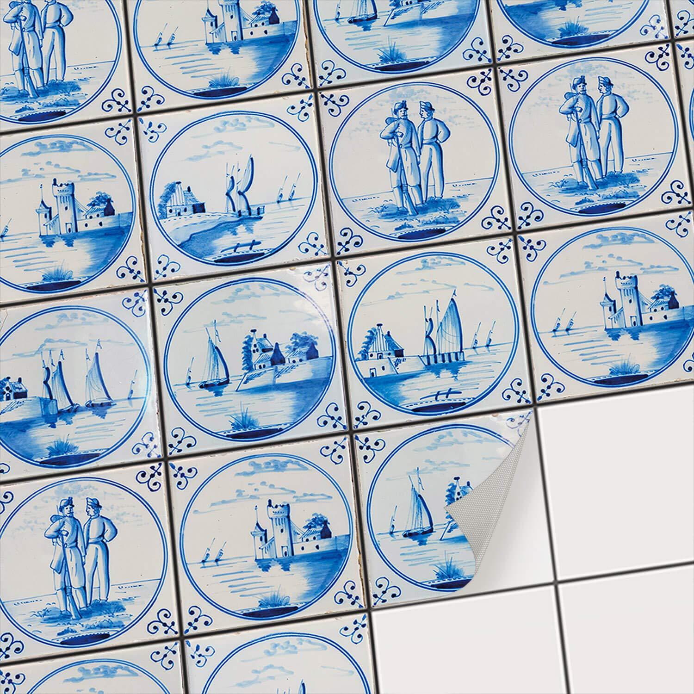 Fliesensticker Mosaikfliesen fü r Kü che u. Bad Deko | Selbstklebende Fliesenbilder - Dekorative Fliesenfolie fü r Kü chenrü ckwand und Fliesenspiegel | 10x10 cm - Motiv Hollä ndische Fliese - 9 Stü ck creatisto GmbH