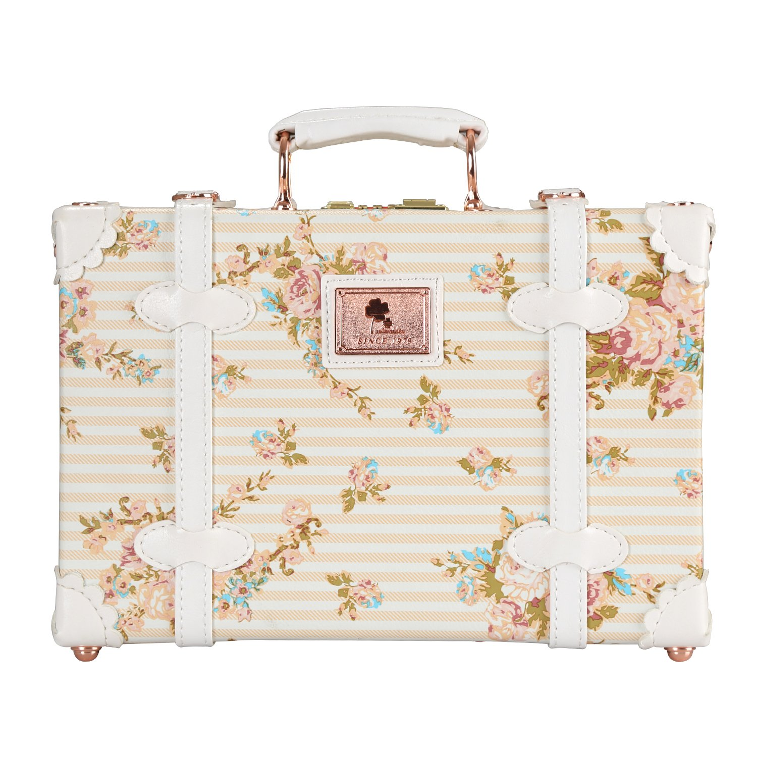Unitravel Vintage Suitcase PU Leather Small Floral Box with Straps Carry on 12''