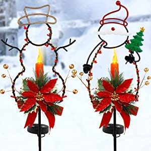 FORUP Solar Christmas Yard Decorations, Outdoor LED Solar Powered Candle, Xmas Pathway Lights, Metal Solar Garden Stake Lights, Snowman Santa Christmas Lawn Yard Ornament, Set of 2