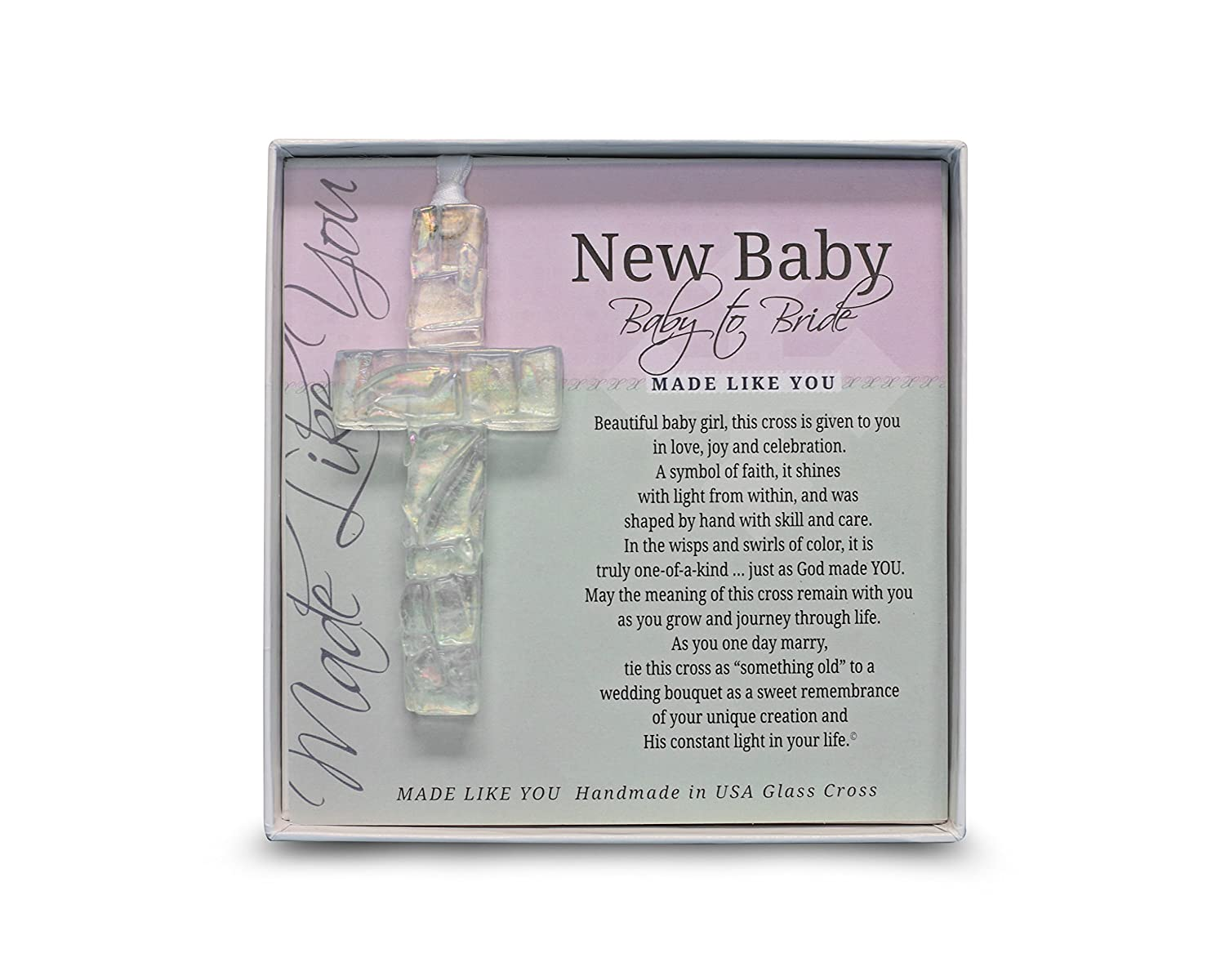 The Grandparent Gift Baby to Bride Glass Cross Keepsake Gift for Girl, Clear