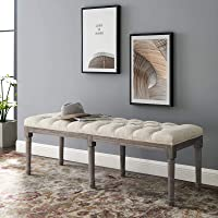 Modway Province French Vintage Performance Velvet Entryway Bench in Beige
