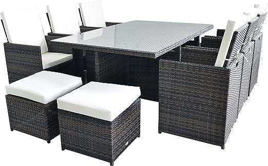 Sevilla - Juego de mesa de comedor de ratán con 6 sillas de respaldo alto + 6