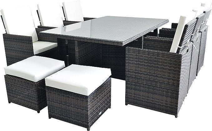 Sevilla - Juego de mesa de comedor de ratán con 6 sillas de respaldo alto + 6 taburetes + cojines, muebles para ahorrar espacio, ideal para el jardín, patio, terraza o invernadero,