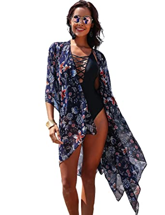 686c76e932a35 Showyoo Women's Boho Floral Print Open Front Kimono Cardigan Beachwear Cover  up Navy Blue S