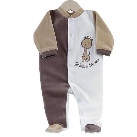 Kinousses necesidad de amor-Pijama para bebé, diseño de terciopelo unisex Talla:0