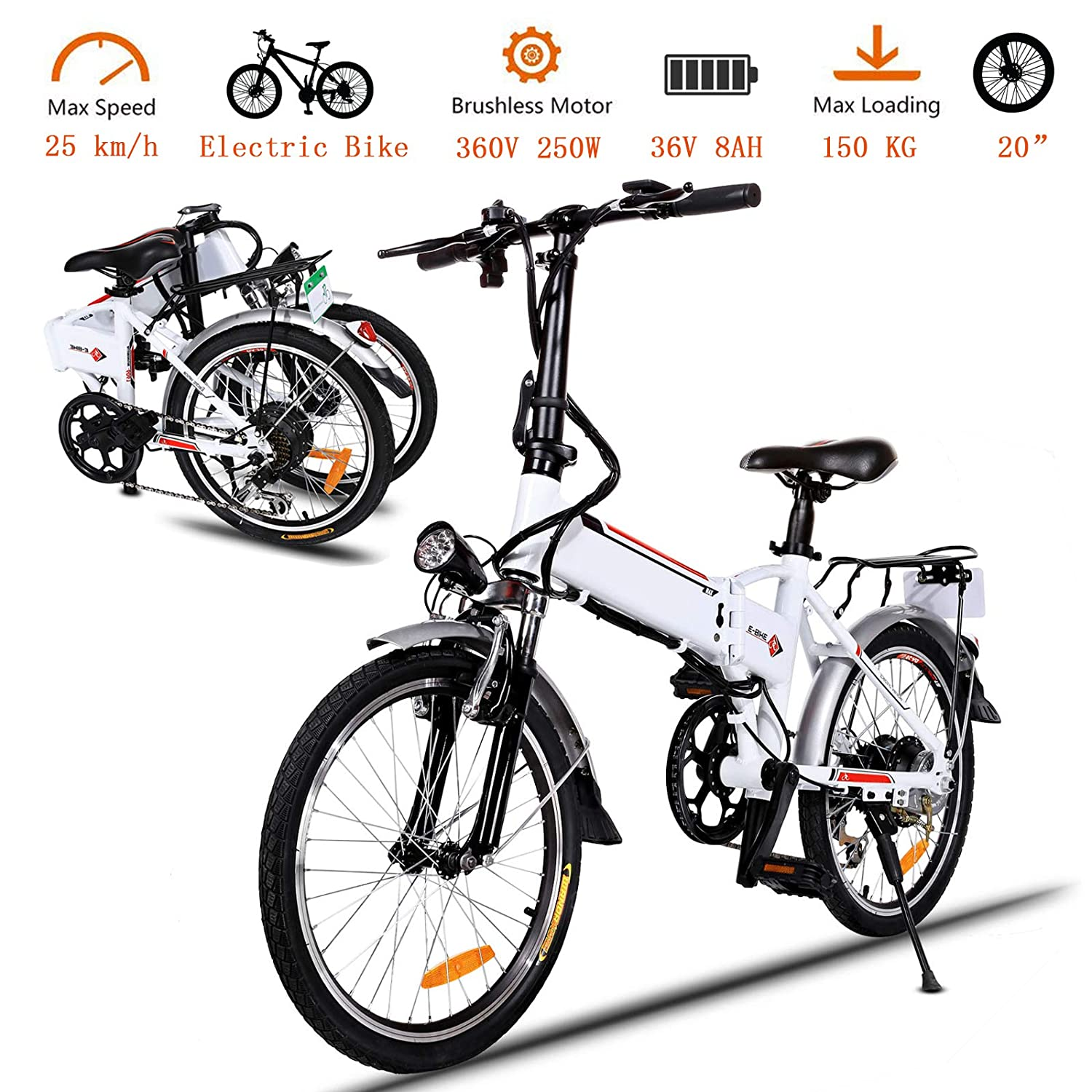 Korie 20 Folding Electric Bike with 36V Lithium-Ion Battery, 250W Motor and 7 Speed Shifter Lightweight E-Bike for Adults