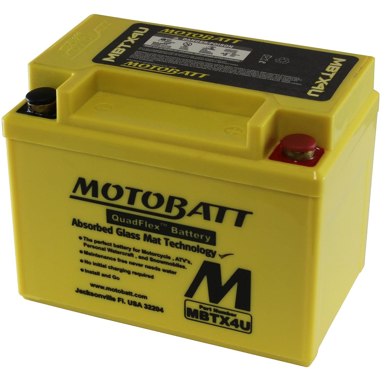 MotoBatt MBTX4U (12V 4.7 Amp) 70CCA Factory Activated QuadFlex AGM Battery