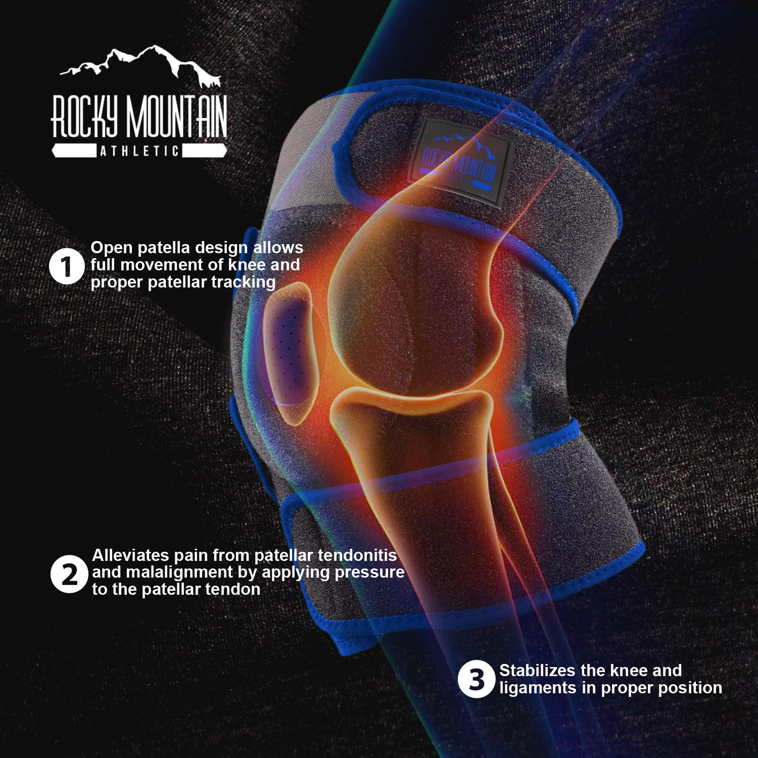 Knee Brace Support Sleeve Therapy Wrap Adjustable Patella Tendon Stabilizer for Meniscus Tear, Bursitis, Runners, Arthritis, Jumpers, ACL, MCL, Joint Injuries, Ligament Sprains, Swelling, & All Sports by Rocky Mountain Athletic (Image #3)