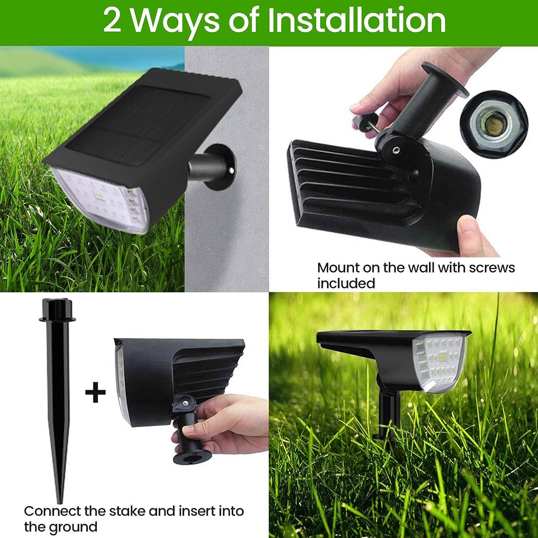 Papasbox 32 LED Solar Spotlight 2-in-1 Solar Lights Outdoor Garden,3 Modes Solar Spotlight,Motion Sensor Lights Outdoor,Garden Solar Lights Outdoor Waterproof for Yard,Patio,Porch,Garden Pool 2 Parks