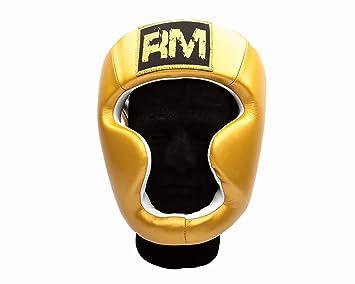 Ringmaster UK Casco Protector Para Boxeo Piel Oro, hombre mujer, dorado