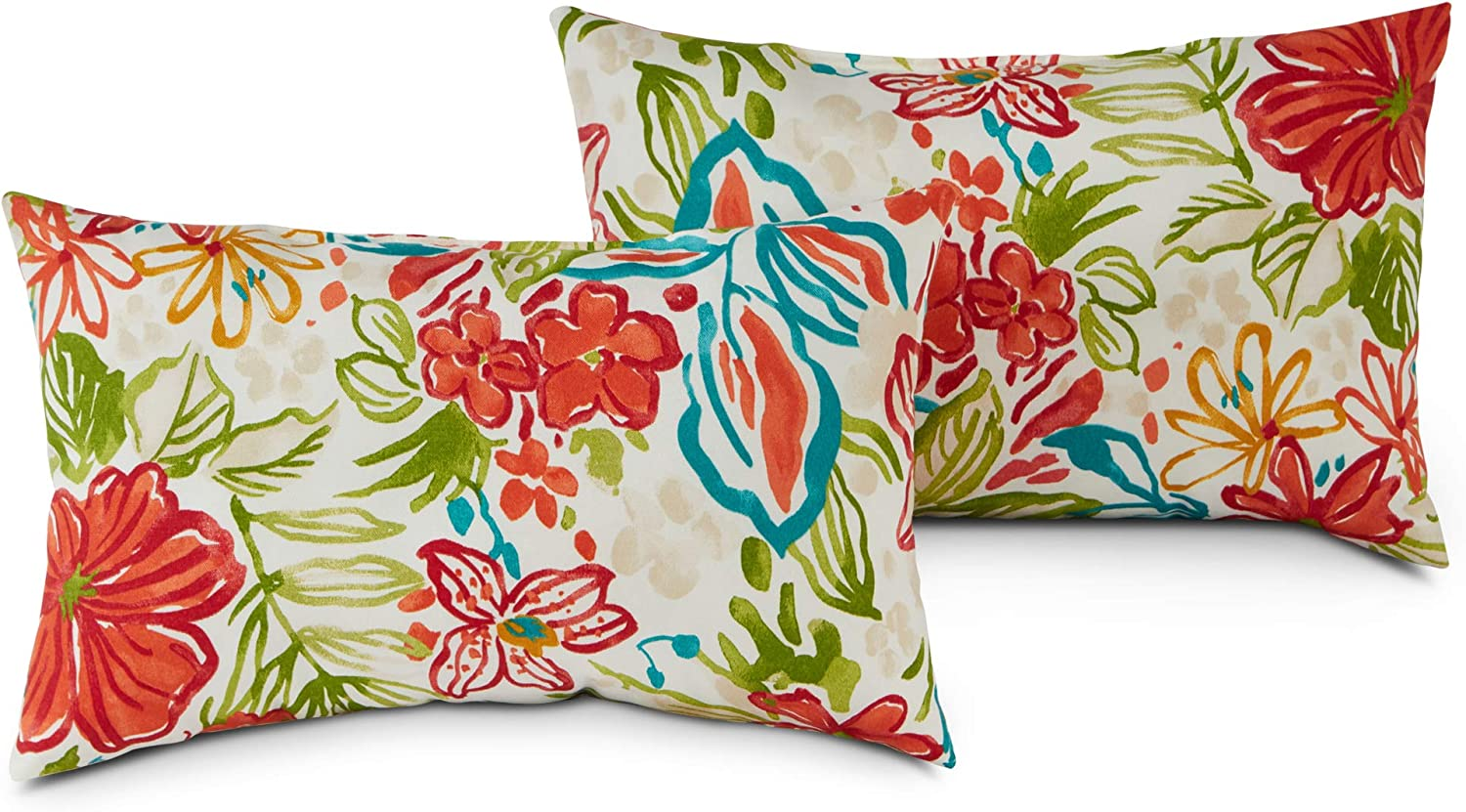 Greendale Home Fashions AZ5811S2-BREEZE Garden Floral Outdoor Rectangle Throw Pillow (Set of 2)
