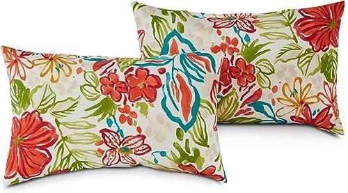 South Pine Porch AM5811S2-BREEZE Breeze Floral Outdoor 19×12-inch Rectangle Accent Pillow, Set of 2