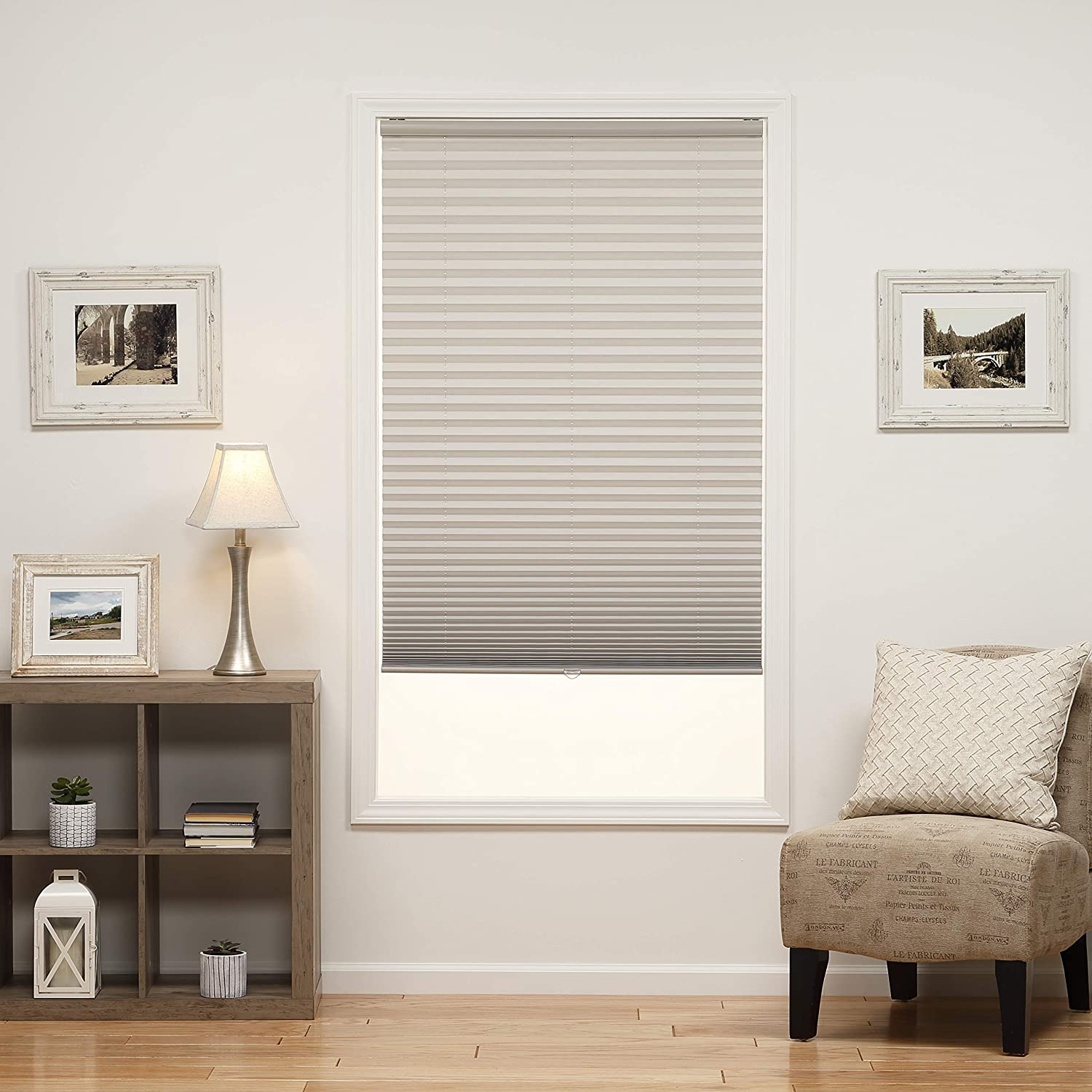 DEZ Furnishings QDLG340480 Cordless Light Filtering Pleated Shade 34W x 48L Inches Silver Gray