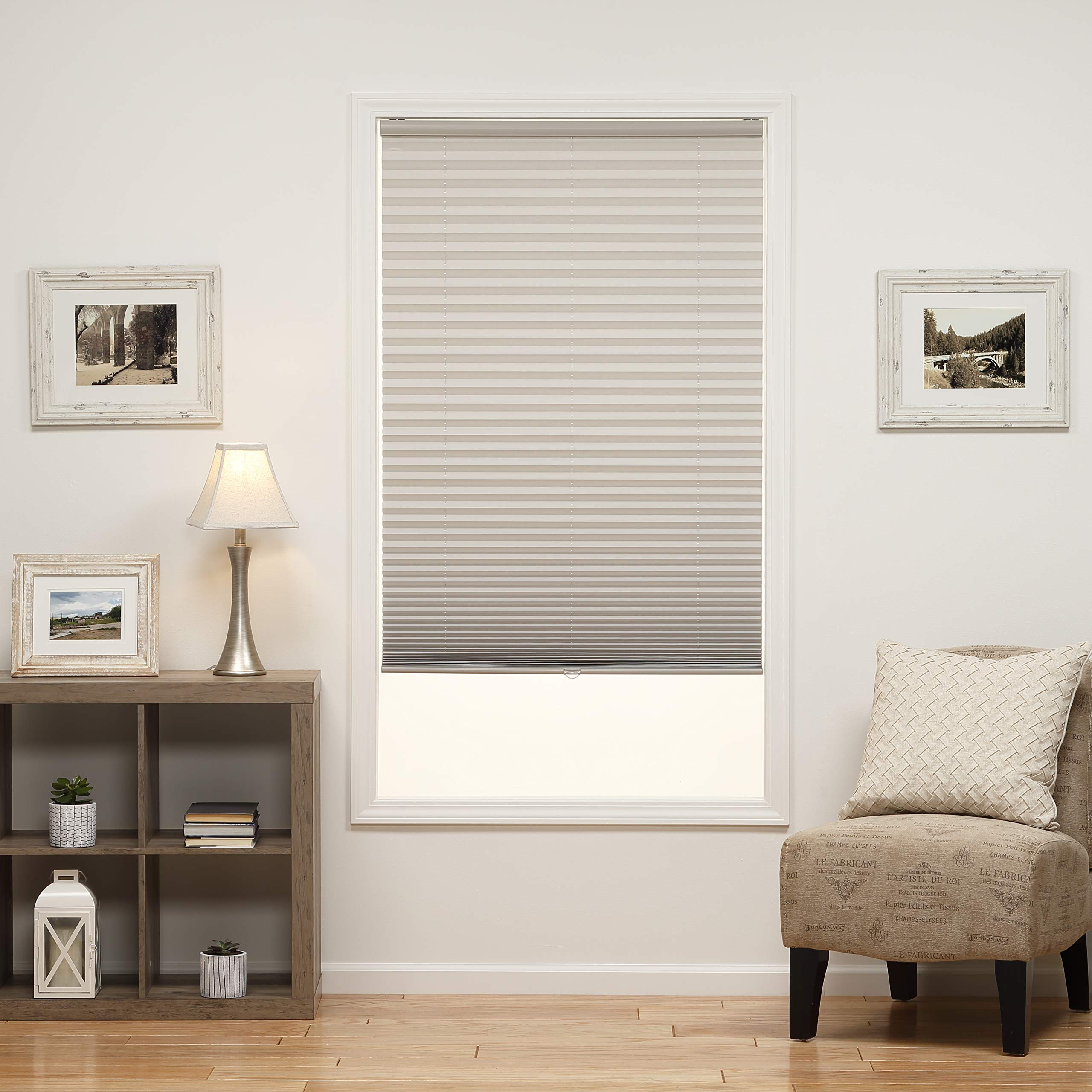 DEZ Furnishings QDLG200720 Cordless Light Filtering Pleated Shade, 20W x 72L Inches, Silver Gray by DEZ Furnishings
