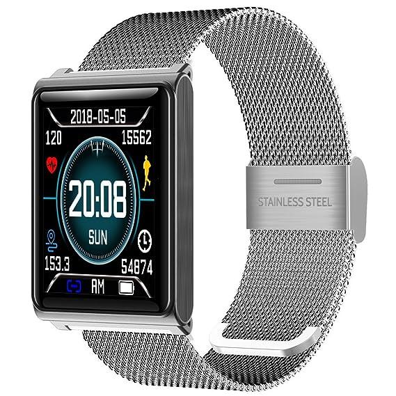 Fitness Tracker - Reloj Inteligente con medidor de presión Arterial y podómetro, Impermeable, Contador de calorías: Amazon.es: Relojes