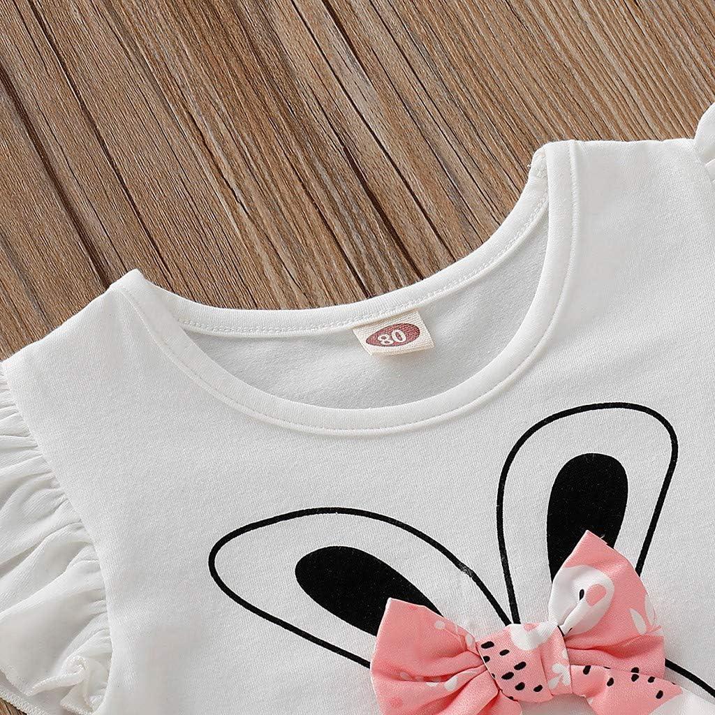 BaZhaHei Completi Bambina Estate,Infantile Bambino Ragazza Casual Top Fly Sleeve Coniglio Stampa T-Shirt Gonna Tutu 2pcs Set per Festa Club Ballo Scuola 1-4anni