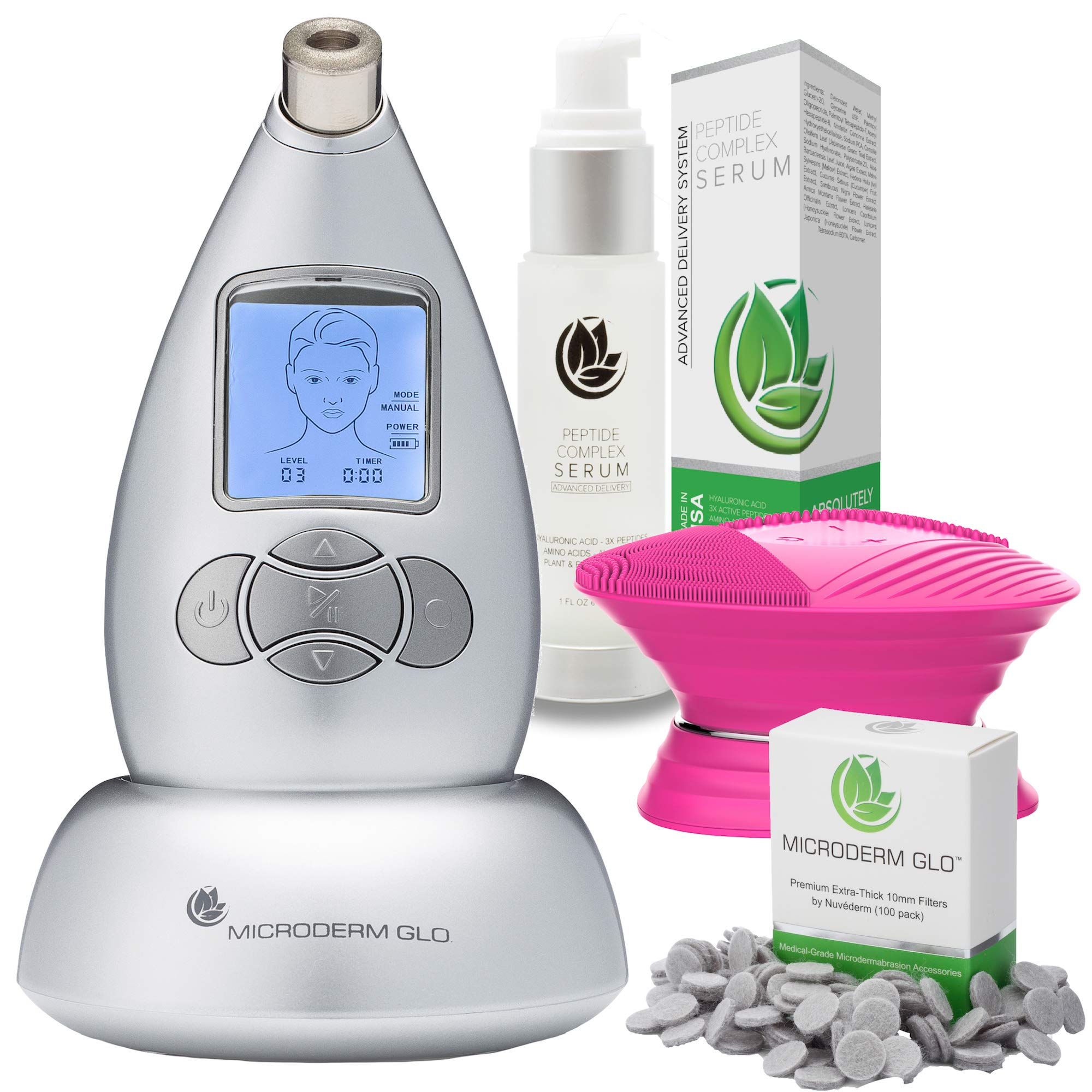 Microderm GLO Advanced Skincare Bundle Includes Diamond Microdermabrasion System, 10mm Filters 100 pack, Peptide Complex Serum, Sonic Facial Cleansing Brush. Perfect Anti Aging Treatment Kit (Silver)