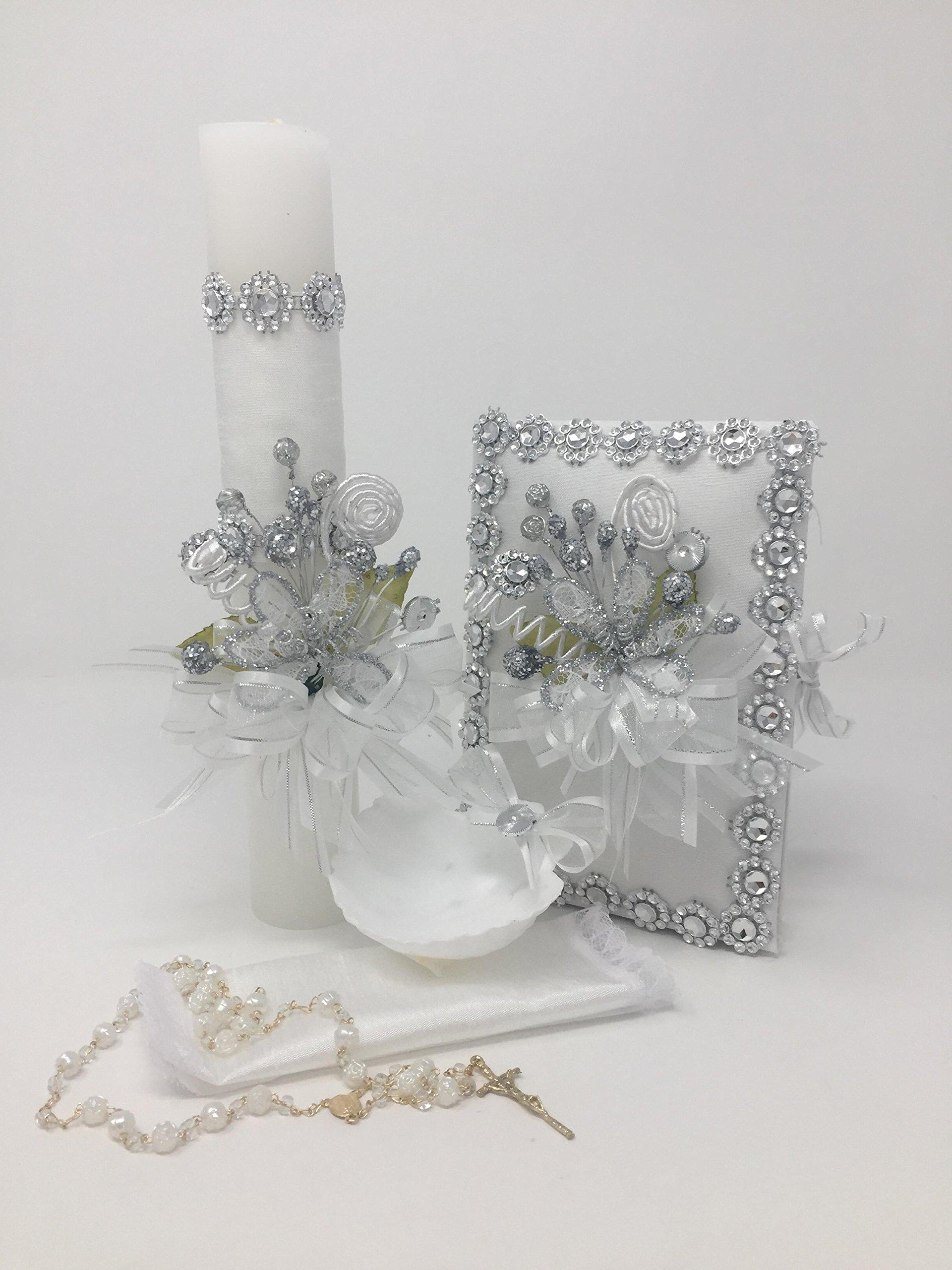 Casa Ixta Baptism candle set with cristal details
