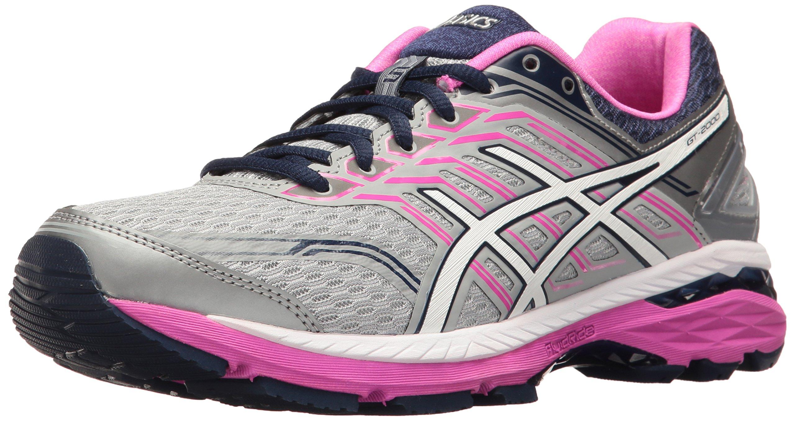 ASICS Women's GT-2000 5 Running Shoe, Mid Grey/White/Pink Glow, 8.5 M US
