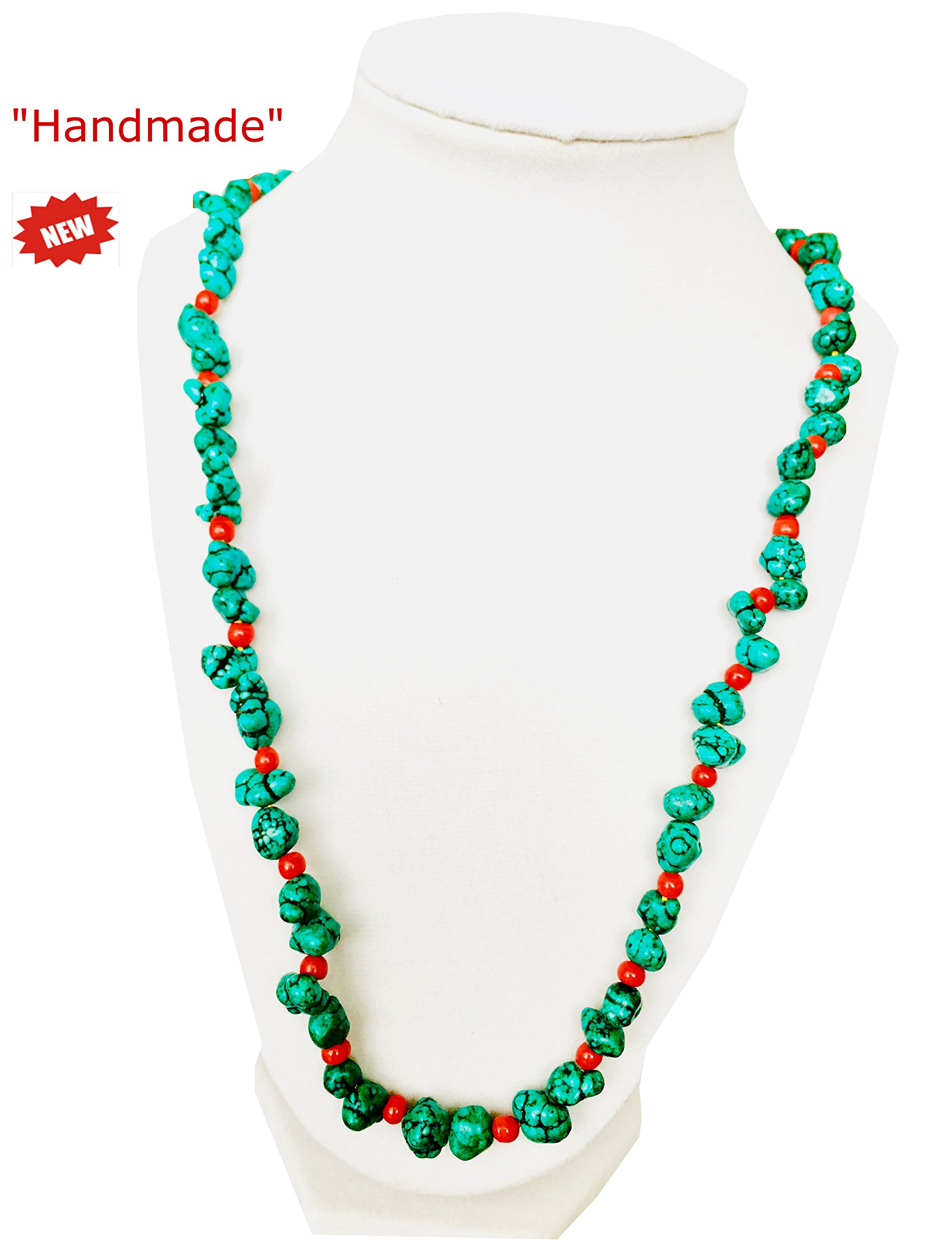 Himalayan Handmade Large Necklace Of Quality Red Corals & Turquoise Comes With Gift Box