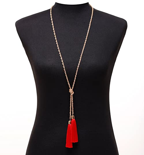 Lariatneck Long Tassel Necklace Y Shaped Adjustable Knot Chain Tassel Pendant for Women
