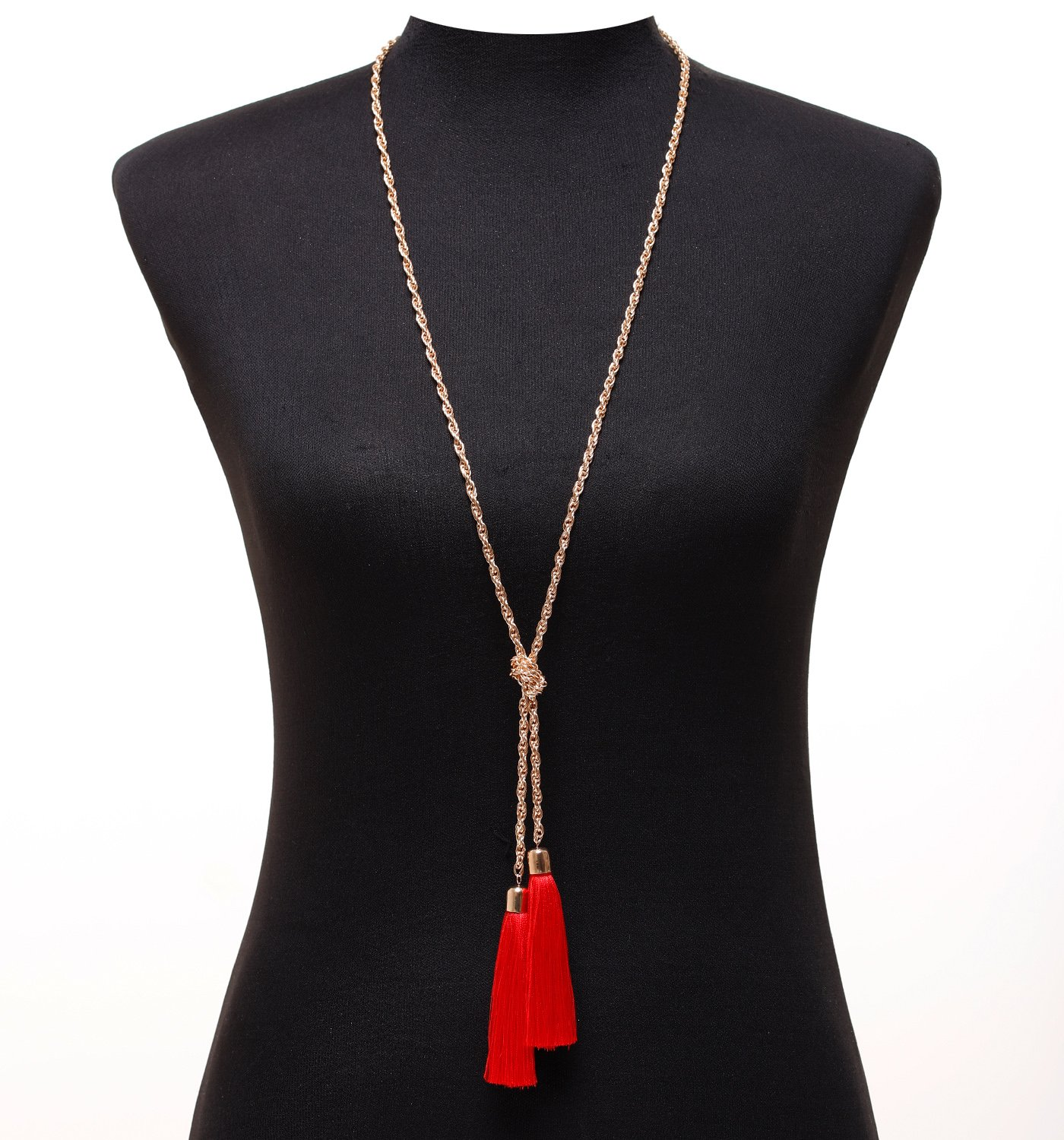 Lariatneck Long Tassel Necklace Y Shaped Adjustable Knot Chain Tassel Pendant for Women (Gold with Red Tassel)