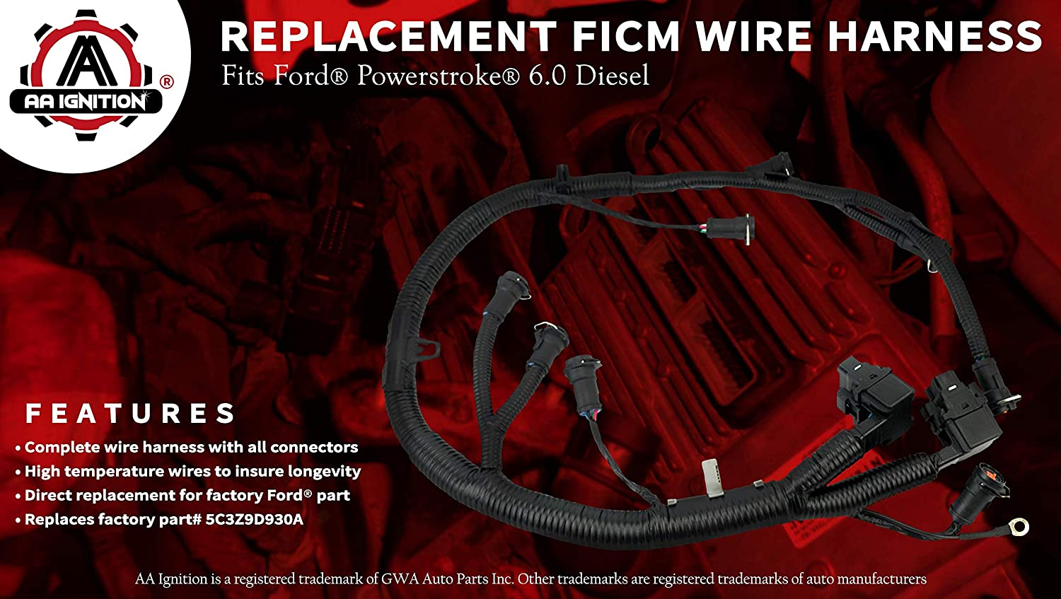 Amazon.com: FICM Engine Fuel Injector Complete Wire Harness ... on ford transmission diagram 5.8l, ford 5.8 engine diagram, ford super duty vacuum schematic, ford emissions diagram, ford vacuum diagrams f 250, ford 6.0 diesel parts diagram, ford f-350 engine schematics, ford f 350 parts diagram, ford 7.3l engine diagram,