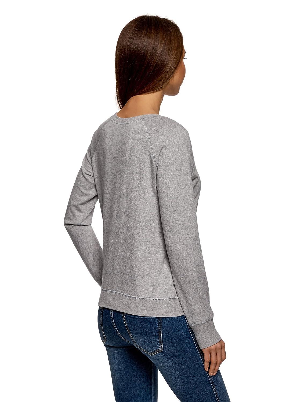oodji Ultra Femme Sweat-Shirt Basique en Coton