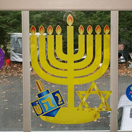 amazoncom gift boutique hanukkah window clings decorations menorah star of david happy chanukah and dreidel pack of 4 banners toys games