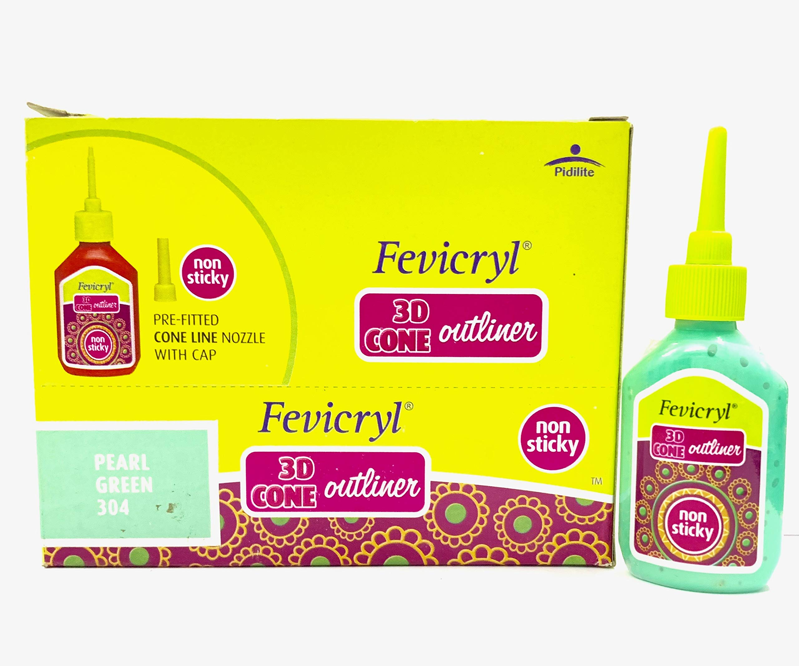 New Fevicryl Non Sticky 3D Cone Outliner Non-Toxic with Pre-Fitted Cone Line Nozzle with Cap (304) - 20ml Bottle -10 Bottle Pack - Colour - Pearl Green- with Free 3D Keyring by Fevicryl