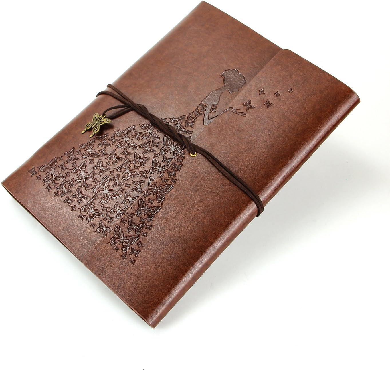 XIUJUAN Libreta Bonitas A5 Cuaderno Bloc de Notas Dibujo Hojas Blancas Cuero Vintage Journal Diary, Regalos Originales Navidad San Valentín Cumpleaños Aniversario Boda para Mujer Bariposa Niña, Marró