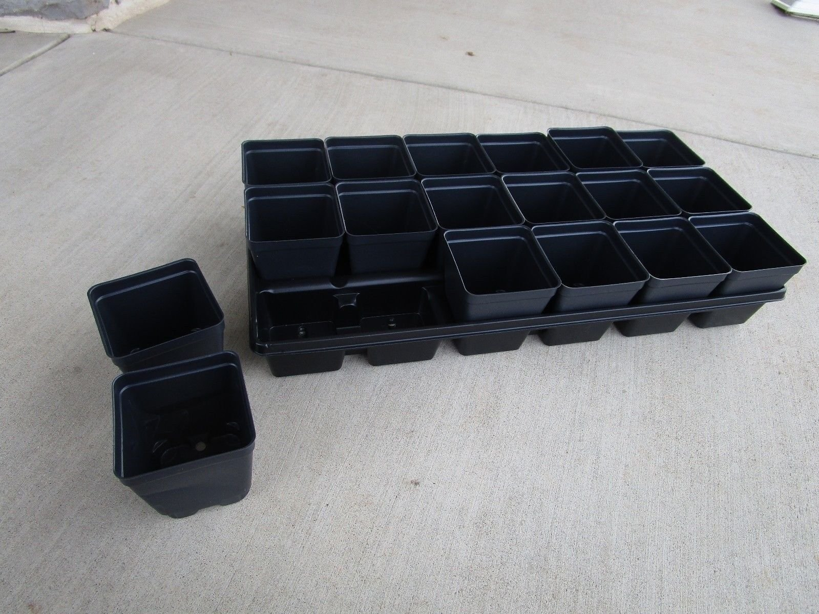 Set of 3 Black Divided Trays and 54-3.5 Inch Square Deep Nursery Pots