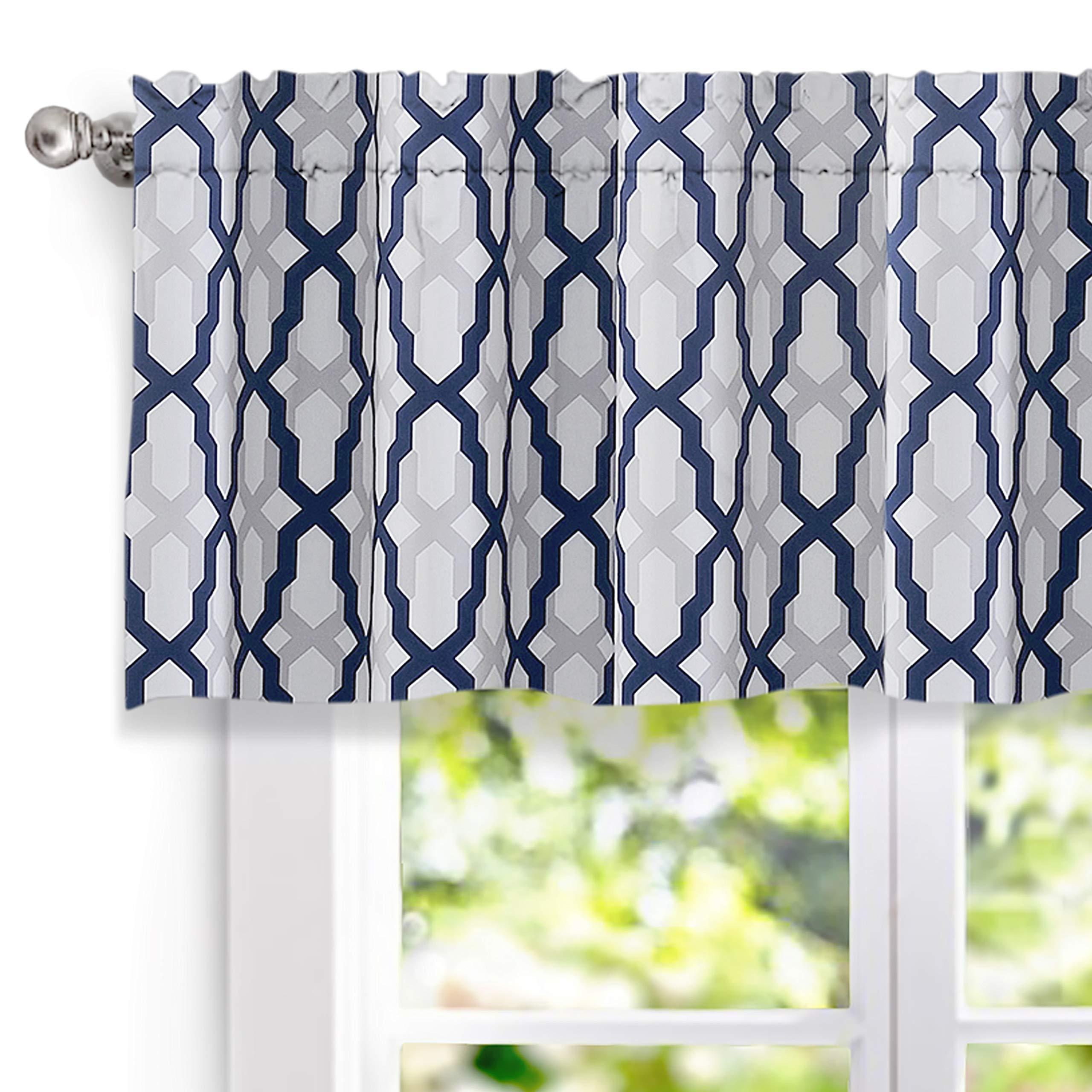 DriftAway Mason Geometric Trellis Pattern Window Curtain Valance, Rod Pocket, 52''x18''+2'' Header (Navy)