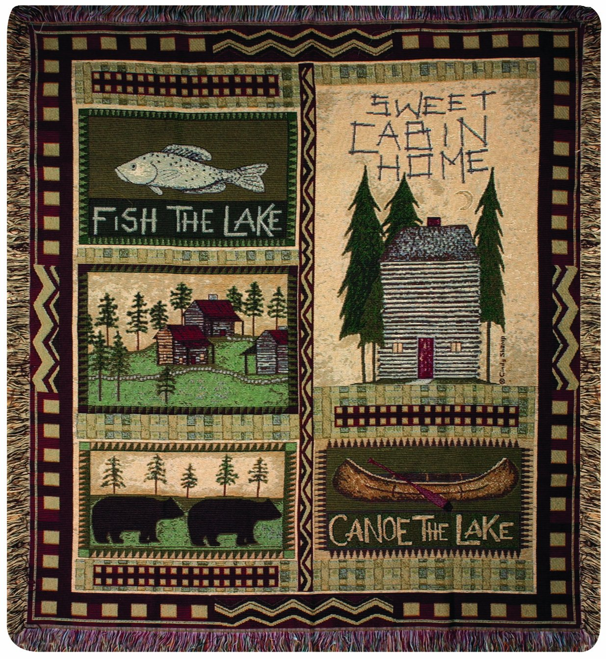 Manual The Lodge Collection 50 x 60-Inch Tapestry Throw Big Bear Manual Woodworkers Bedding//Bath 83-NAT-ATBBLD