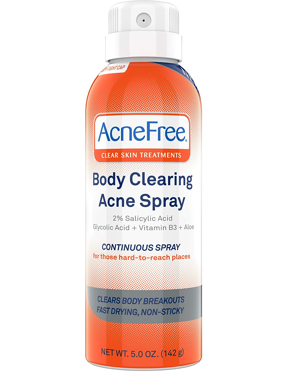 AcneFree Body Clearing Acne Treatment Spray for Body Acne and Back Acne, Treatment with Salicylic Acid 2% and Glycolic Acid, 5 Ounce 3.01875E+11