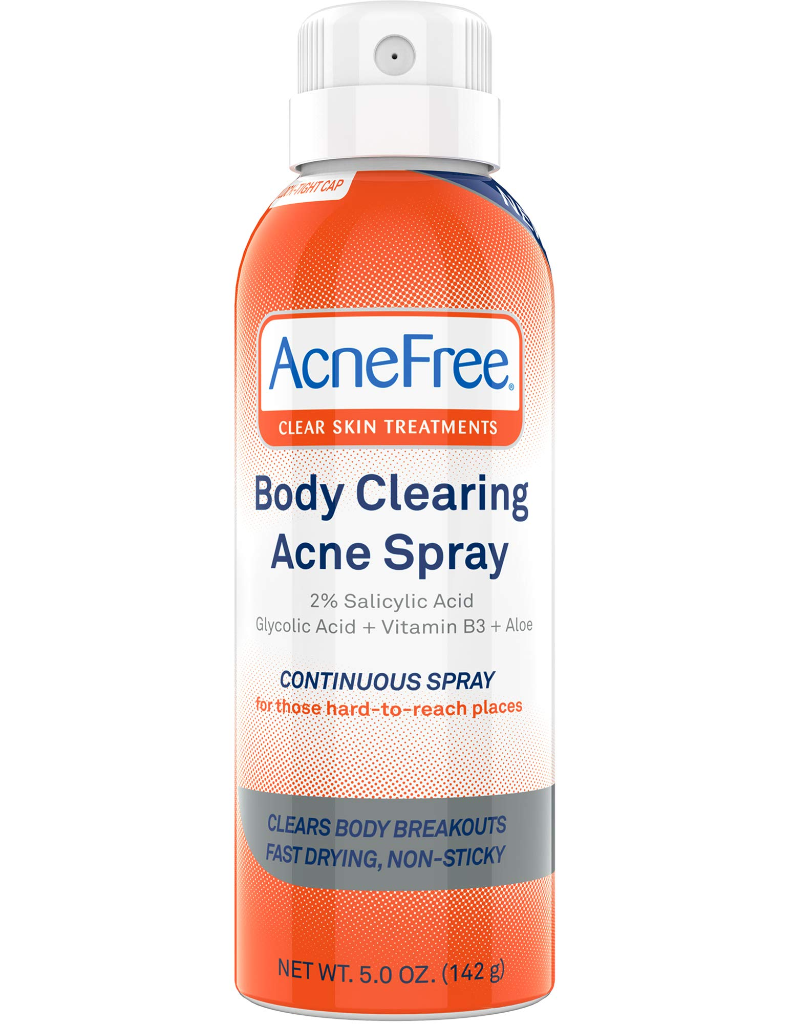 AcneFree Body Clearing Acne Treatment Spray for Body Acne and Back Acne, Treatment with Salicylic Acid 2% and Glycolic Acid, 5 Ounce