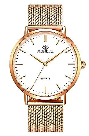 FIA MONETTI Montre à bracelet pour femme - or rose - quartz analogique -  Bracelet en 0e9aa0fc170