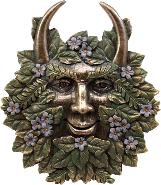 Ebros Gift The Horned God Spring Season Greenman Pan Wall Decor Plaque 7 Wide Decorative Sculpture