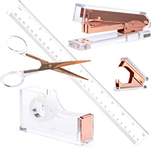 Rose Gold Acrylic Lucite Bundle | Premium Stapler, Tape Dispenser, Scissors, Staple Remover, Ruler Gift Set | Clear Stationery & Desk Accessories | Modern, High End, Chic, Luxury Office Goods