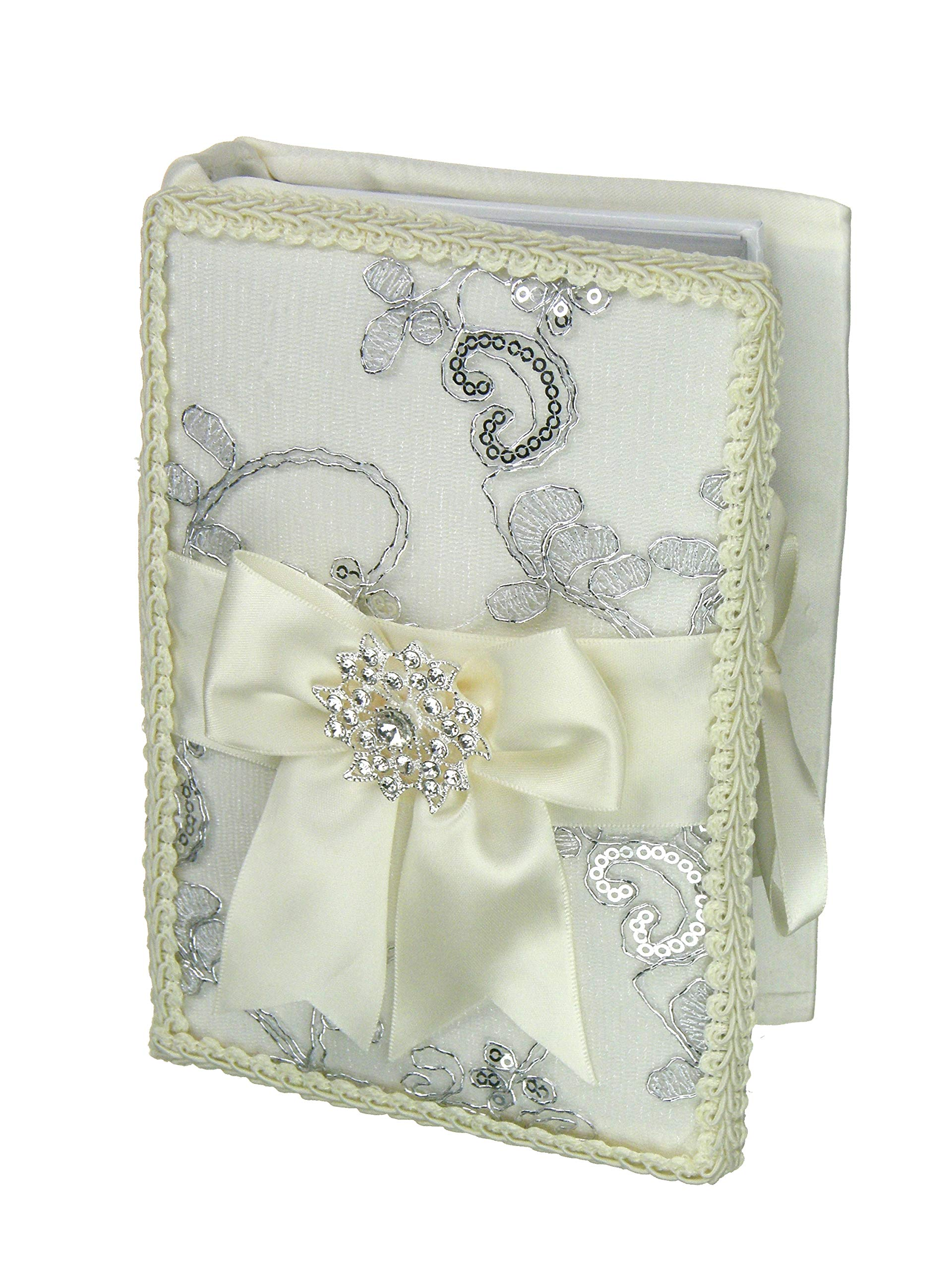 DivaDesigns Spanish or English Wedding Decorative Bible - Metallic Embroidery and Crystal Pendant (Spanish Version/White-Ivory)