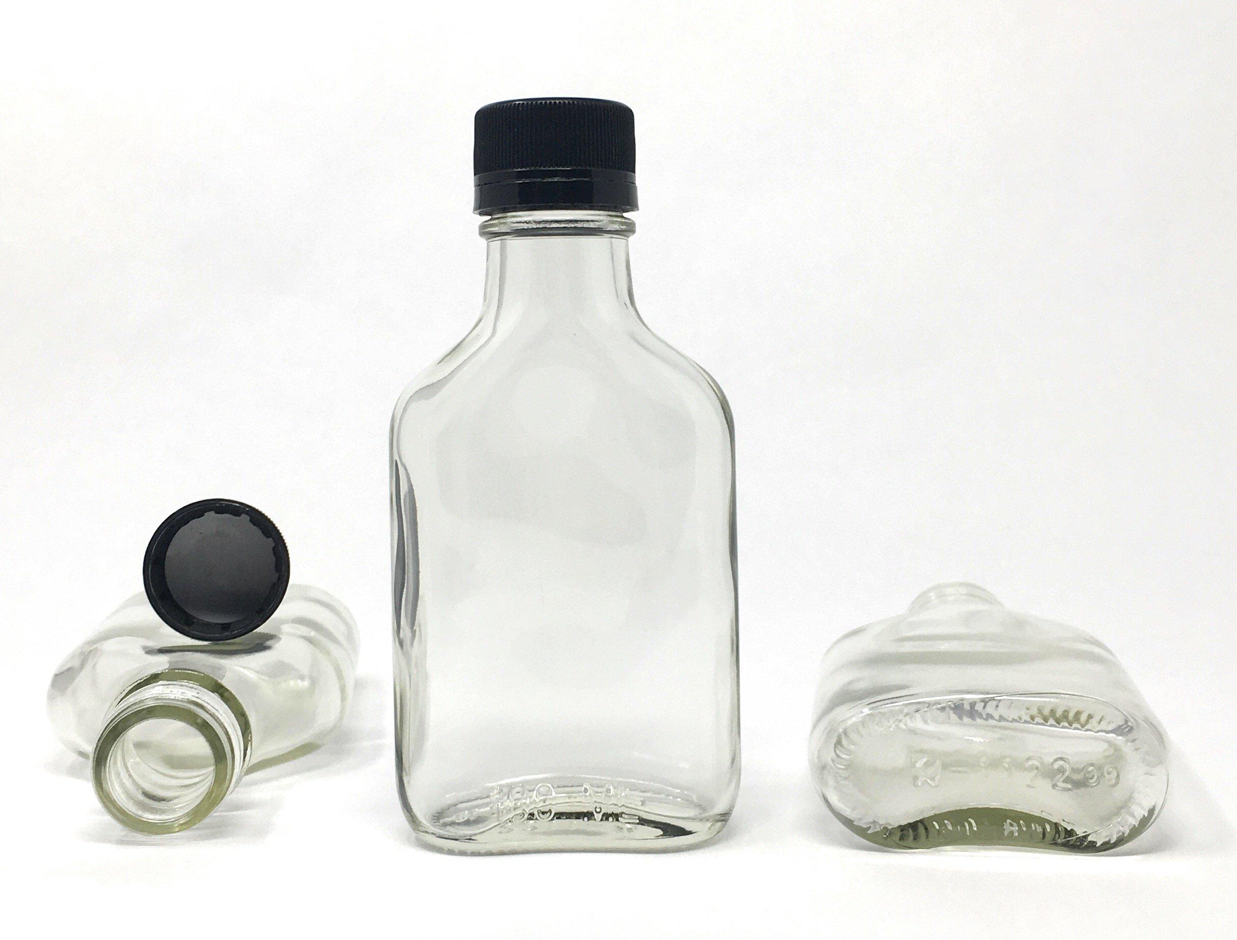 100 ml (3.3 oz) Glass Flask Liquor Bottle with Black Caps (12 Pack)
