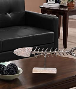 Better Trends Grove Collection of Home Decor is Free Standing Art Made by Skilled Artisans 100% Mango Wood Show-Piece in Unique Designs, Fish Skeleton, Natural