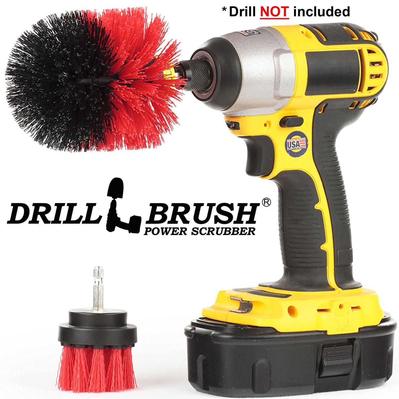2 Pieceロータリークリーニングdrillbrushes by Drillbrush レッド  Red-Stiff B078T25HNQ