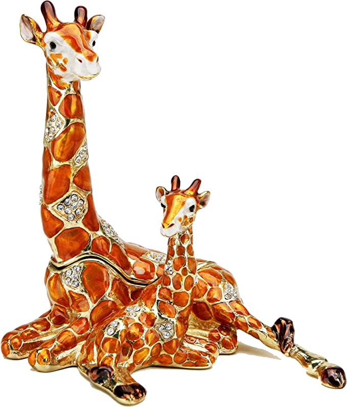 Giraffe /& Baby Jeweled Trinket Box with SWAROVSKI Crystals